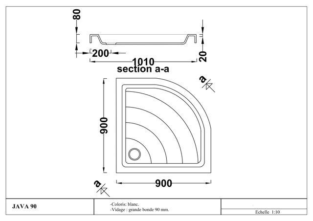 tropic international receveur angle java 90 cm. Black Bedroom Furniture Sets. Home Design Ideas